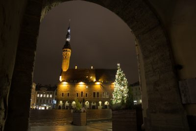 Christmas tree at Tallinn Town hall square