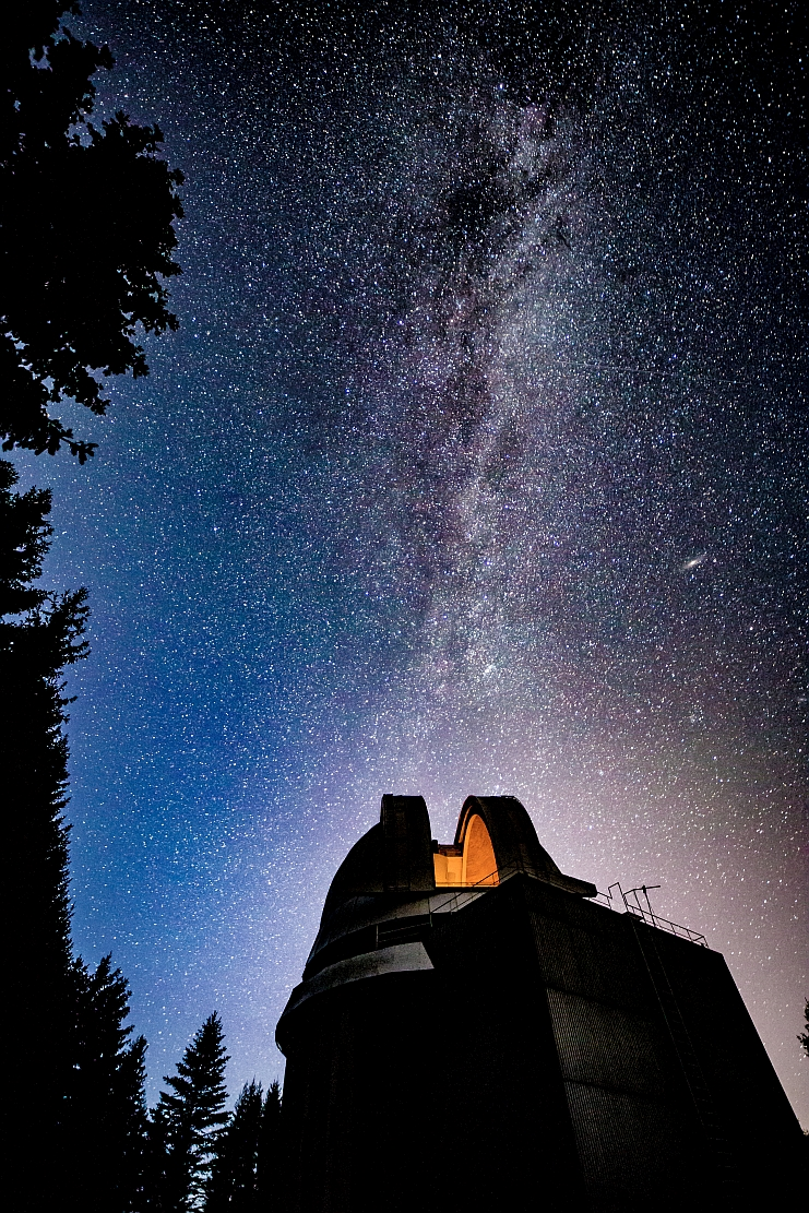 telescope and milky way